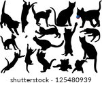 Stock photo cat and kitten silhouette on white background raster version 125480939