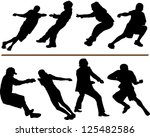 tug of war silhouettes. adults  ... | Shutterstock . vector #125482586