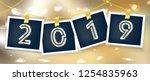 new year 2019 2020 polaroid... | Shutterstock .eps vector #1254835963