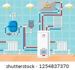 plumbing in house. water supply ... | Shutterstock .eps vector #1254837370