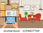 interior apartment space.... | Shutterstock .eps vector #1254837769
