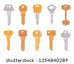 set of key in flat design style.... | Shutterstock .eps vector #1254840289