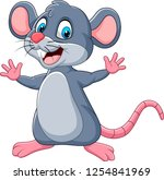 cartoon happy mouse waving | Shutterstock . vector #1254841969