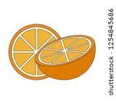 orange fruit half cut   Shutterstock .eps vector #1254845686