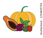 fruits and vegetables   Shutterstock .eps vector #1254845743