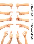 collage of woman hands on white ... | Shutterstock . vector #125484980