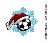 soccer santa snow flake logo   Shutterstock .eps vector #1254851800