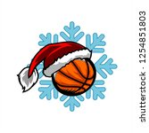 basketball santa snow flake logo   Shutterstock .eps vector #1254851803