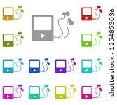 mp3 player icon in multi color. ...