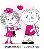 the girl offers the boy to eat... | Shutterstock . vector #125485709