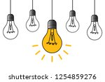 hanging light bulb with... | Shutterstock .eps vector #1254859276