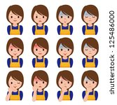 expression of multiple housewife | Shutterstock . vector #125486000