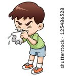 illustration of sick boy cartoon | Shutterstock .eps vector #125486528