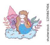 mermaid with castle undersea... | Shutterstock .eps vector #1254867406