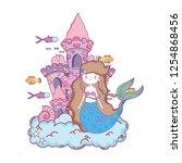 mermaid with castle undersea... | Shutterstock .eps vector #1254868456