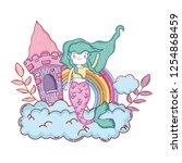 mermaid with castle undersea... | Shutterstock .eps vector #1254868459