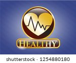 gold emblem with heart with... | Shutterstock .eps vector #1254880180