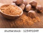 Ground Nutmeg Spice In The...