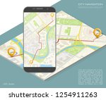 city map route navigation... | Shutterstock .eps vector #1254911263