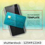 smartphone   credit card banner....   Shutterstock .eps vector #1254912343