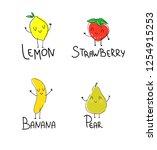 hand drawn lemon  banana  pear  ...   Shutterstock .eps vector #1254915253