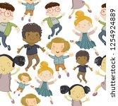 cartoon seamless pattern with... | Shutterstock .eps vector #1254924889