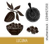 lucuma. fruit  leaves  powder ...   Shutterstock .eps vector #1254927253