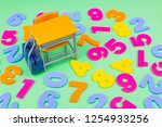 desks and chairs and numbers ... | Shutterstock . vector #1254933256