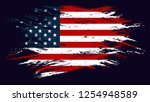 grunge flag of the usa. vector... | Shutterstock .eps vector #1254948589