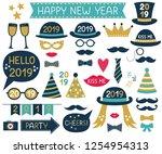 new year 2019 vector design... | Shutterstock .eps vector #1254954313