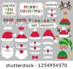 santa and elf hats  deer... | Shutterstock .eps vector #1254954370