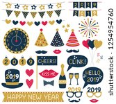 new year 2019 party props and... | Shutterstock .eps vector #1254954760