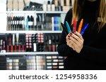 close up seller hands...   Shutterstock . vector #1254958336