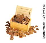 chest full of money isolated on ... | Shutterstock . vector #125496143
