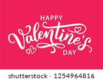 Stock vector happy valentines day with hearts shape greeting card on bright pink background hand drawn white 1254964816