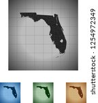 map of florida | Shutterstock .eps vector #1254972349