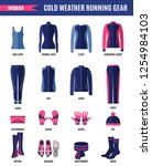 winter running clothes set for... | Shutterstock .eps vector #1254984103