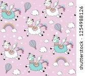 cute llama unicorn and rainbow...   Shutterstock .eps vector #1254988126