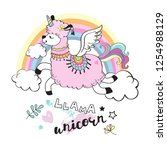cute llama unicorn and rainbow... | Shutterstock .eps vector #1254988129