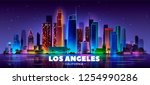los angeles panoramic cityscape ... | Shutterstock .eps vector #1254990286