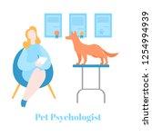 flat pet psychologist  dog... | Shutterstock .eps vector #1254994939