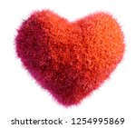 red fur heart isolated 3d... | Shutterstock . vector #1254995869