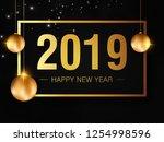 happy new year 2019 creative... | Shutterstock .eps vector #1254998596