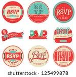 vector set vintage rsvp label | Shutterstock .eps vector #125499878