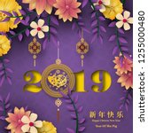 happy chinese new year 2019... | Shutterstock .eps vector #1255000480