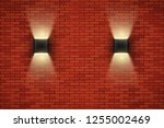 interior of red brick wall with ... | Shutterstock .eps vector #1255002469