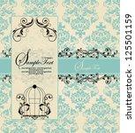 vintage blue damask invitation...   Shutterstock .eps vector #125501159