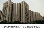 low angle shot of a high rise... | Shutterstock . vector #1255015423