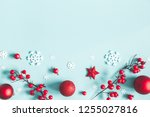 christmas or winter composition.... | Shutterstock . vector #1255027816