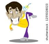 drunken cartoon man with glass... | Shutterstock .eps vector #1255028023